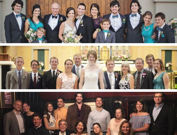 Top to bottom: The Driver, Collins and Royals families show the joy of many siblings.