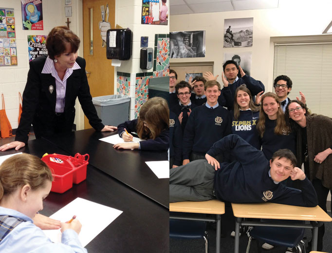 Above, Nancy Herlihy with her students at Queen of Angels Catholic School and Liberty Hall with some of her students at St. Pius X Catholic High School, both in Atlanta.