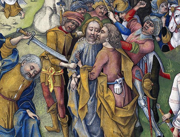 """Israel von Meckenem, """"The Kiss of Judas Iscariot,"""" 15th century"""