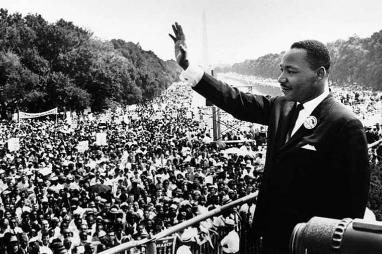 Dr. Martin Luther King giving his 'I Have a Dream' speech during the March on Washington in Washington, D.C., Aug. 28, 1963.