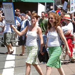 Lesbian couple march in the San Francisco Pride 2004 demonstration.