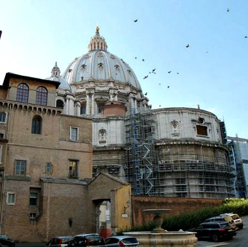 A view of St. Peter's as seen from inside the Vatican.