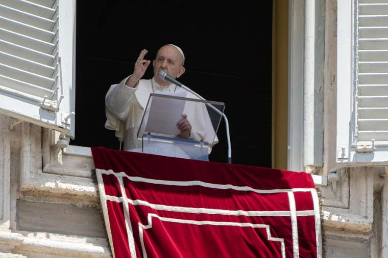 Pope Francis gives his Angelus address on June 8, 2020.