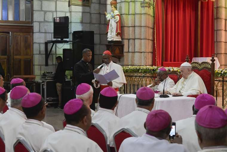 Pope Francis meets with bishops in Madagascar Sept. 7.