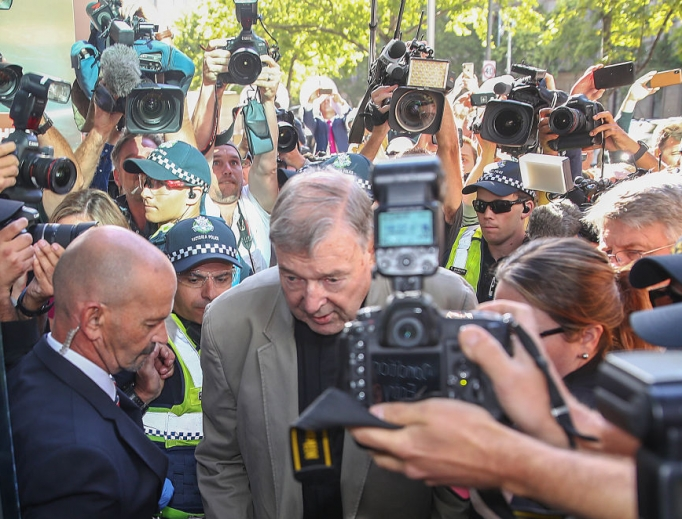 Cardinal George Pell arrives at Melbourne County Court Feb. 27 in Melbourne, Australia.