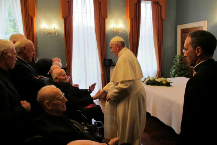 Pope Francis meets with Jesuits in Dublin Aug. 25.
