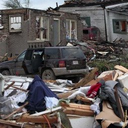 UTTER DESTRUCTION. Destroyed homes are seen April 28 in a neighborhood in Pratt City, Ala., hit by a wave of severe storms laced with tornadoes April 27. Devastating storms and tornadoes raked though the U.S. South, killing at least 250 people as they ripped houses to rubble, flipped cars and uprooted trees and power lines, officials said.