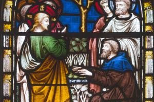The miracle of Jesus healing Bartimaeus is depicted in stained glass in St. Mary Abbot's Church on Kensington High Street in London.