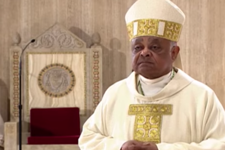 Archbishop Wilton Gregory stands in the sanctuary of the Basilica of the National Shrine of the Immaculate Conception during his May 21 installation Mass.