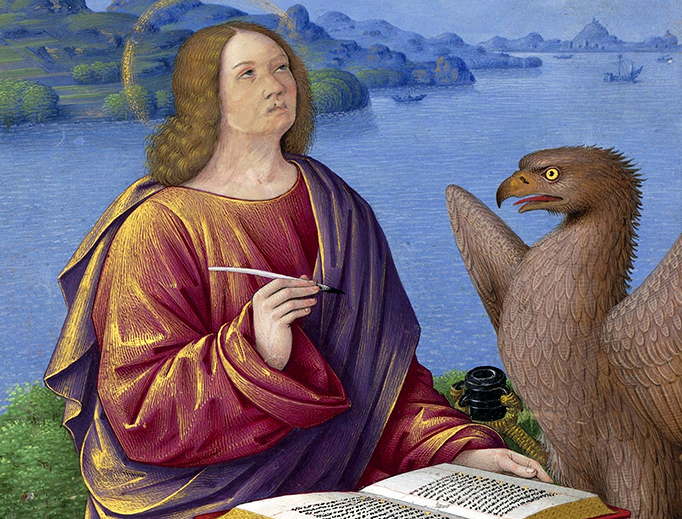 """Jean Bourdichon (1457-1521), """"John the Evangelist,"""" miniature from the Grandes Heures of Anne of Brittany"""