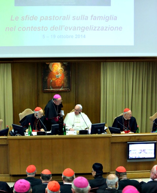 Pope Francis attends the first sessions of the synod on the themes of the family at the Synod Hall on Oct. 6. Pope Francis addressed the fathers of the synod on Monday, as they began their first full day of sessions exploring the pastoral challenges of the family in the context of evangelization.