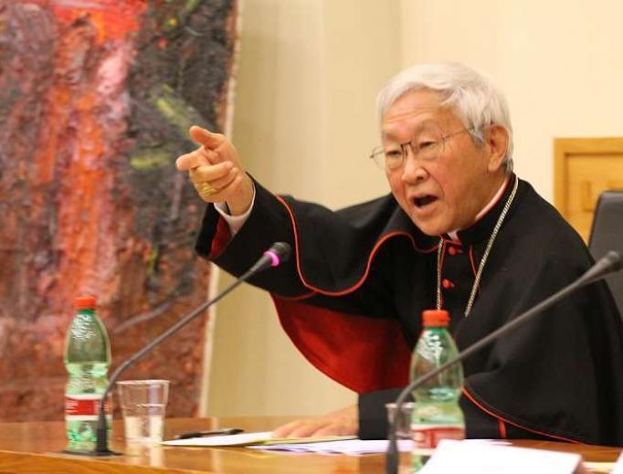 Cardinal Joseph Zen Ze-kiun speaks at the Asianews Conference at the Pontifical Urbaniana University in Rome.