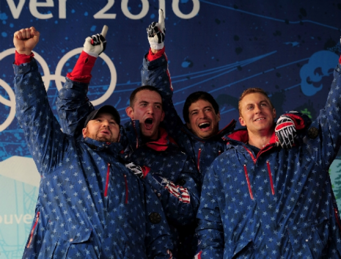 The USA I team won the four-man bobsled race at the 2010 Winter Olympics in Vancouver. Curt Tomasevicz is shown at right.