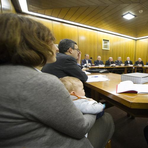 Davide Paloni, the 'synod baby,' attends a working-group session at the synod on the family this month.
