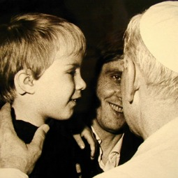 Jakob and Paul Badde meet with Blessed John Paul II on Nov. 17, 1980.