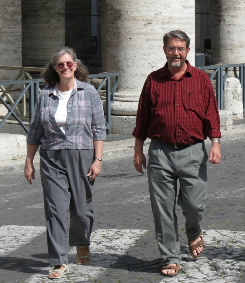 Kimberly and Scott Hahn walk together in St. Peter's Square in Rome on April 4, 2012.