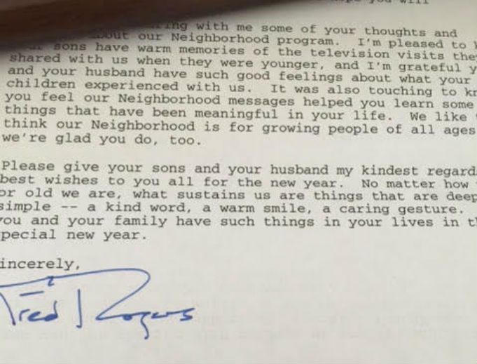 'I'm grateful you and your husband have such good feelings about what your children experienced with us,' wrote Fred Rogers to the author, upon receiving her note of thanks.