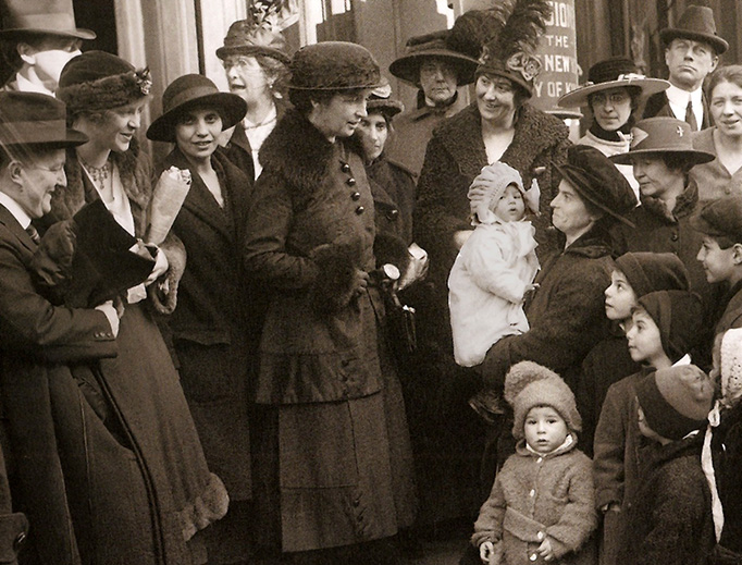 Eugenicist Margaret Sanger stands on the steps of a courthouse in Brooklyn, New York, in 1917.