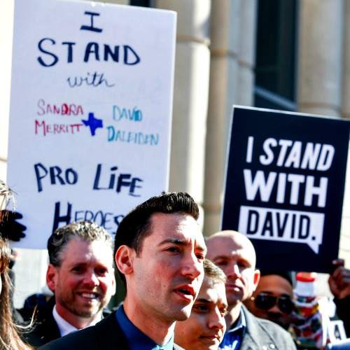 Pro-llfe activist David Daleiden speaks to the media after appearing in court at the Harris County Courthouse on Feb. 4 in Houston.