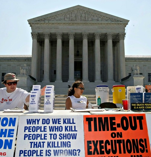 Anti-death penalty group holds a protest before the Supreme Court.