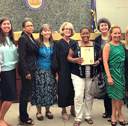 Dawn Eden (third from left) with Project Dawn Court staff and associates.