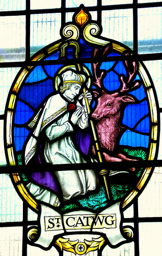 St Catwg in stained Glass, from St Martin's parish church, Caerphilly. (WikiMedia Commons)