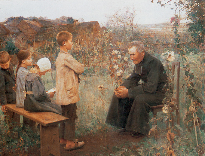 """Jules-Alexis Muenier, """"The Catechism Lesson,"""" 1890"""