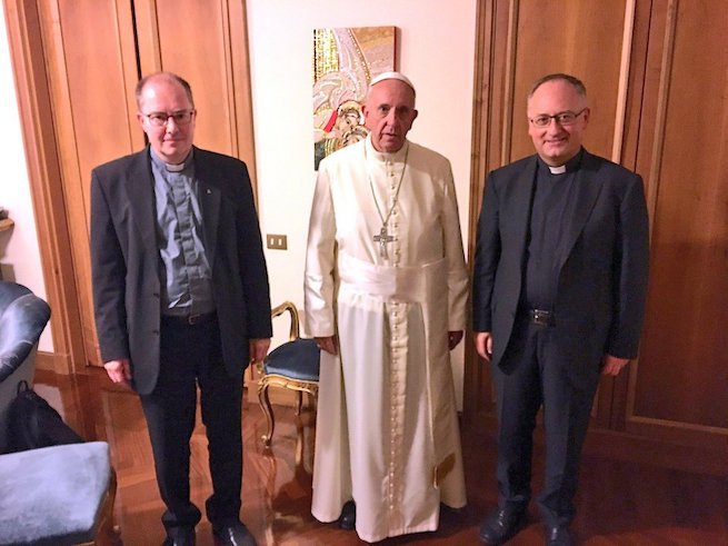 From left: Father Ulf Jonsson SJ, Pope Francis, and Father Antonio Spadaro SJ, editor of 'La Civilta Cattolica', at the end of the interview.
