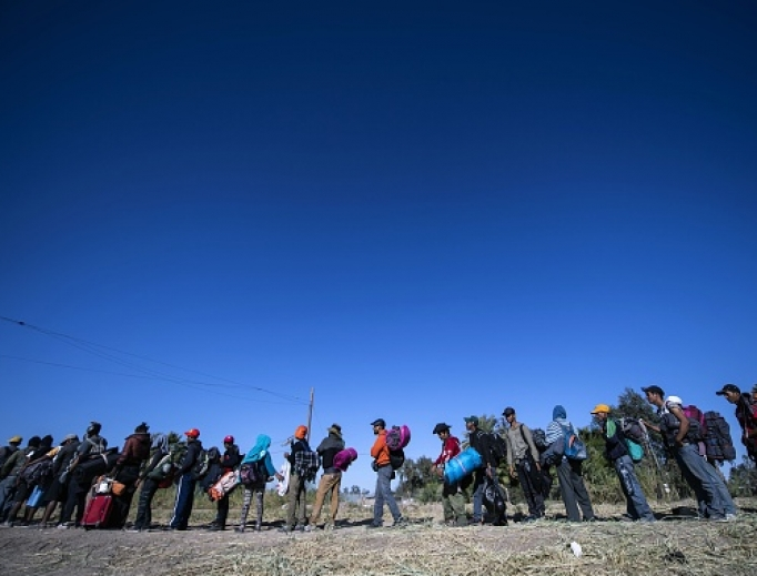 Central American migrants, mostly Hondurans, move in a caravan towards the United States.