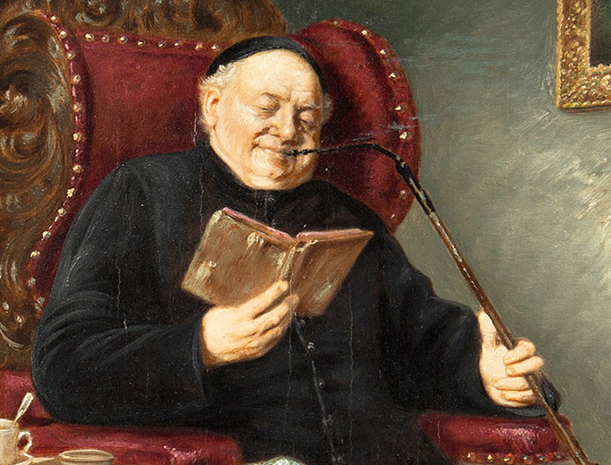 "Eduard von Grützner (1846-1925), ""Priest Reading in an Armchair"""