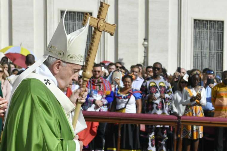 Pope Francis celebrates Mass for the World Day of Migrants and Refugees Sept. 29.