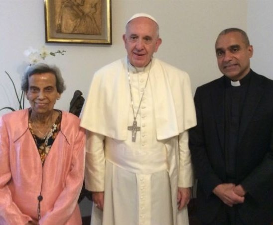 Pope Francis with Sarah and Msgr. Anthony Figueiredo on June 3.