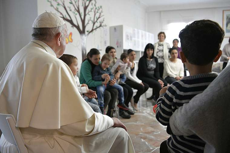 Pope Francis at Leda's House on March 2.