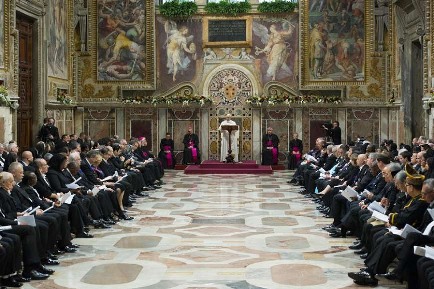 Pope Francis address the Vatican Diplomatic Corps Jan. 8.