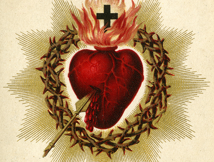 Catholic holy card depicting the Sacred Heart of Jesus, ca. 1880. Auguste Martin collection, University of Dayton Libraries.