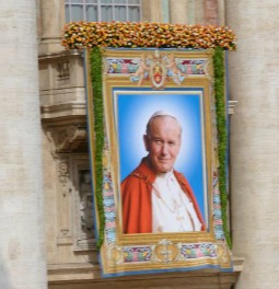 Banner of John Paul II displayed on the central loggia of St. Peter's Basilica on May 1, 2011, immediately following his beatification ceremony.