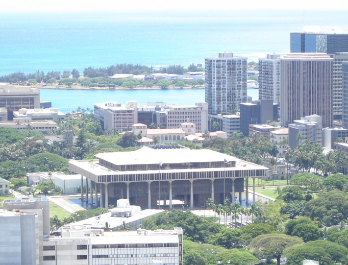 Hawaii, state Capitol shown, legalized physician-assisted suicide April 5, a year after a previous legislative attempt.