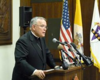 Archbishop Charles Chaput speaks at press conference in Philadelphia Jan. 6.