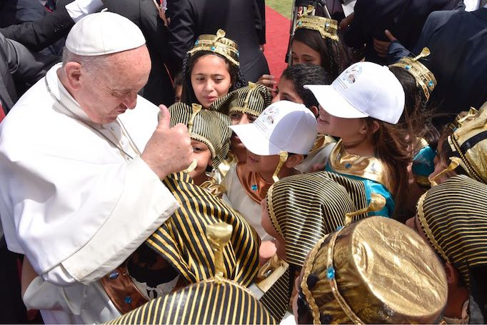 Little pharaohs meet the Pope at Mass in Cairo, April 29, 2017.
