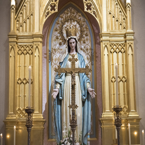 Mary statue inside the Shrine of the Most Blessed Sacrament in Hanceville, Ala.