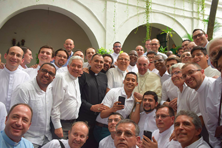 Pope Francis with Jesuit priests in Colombia.
