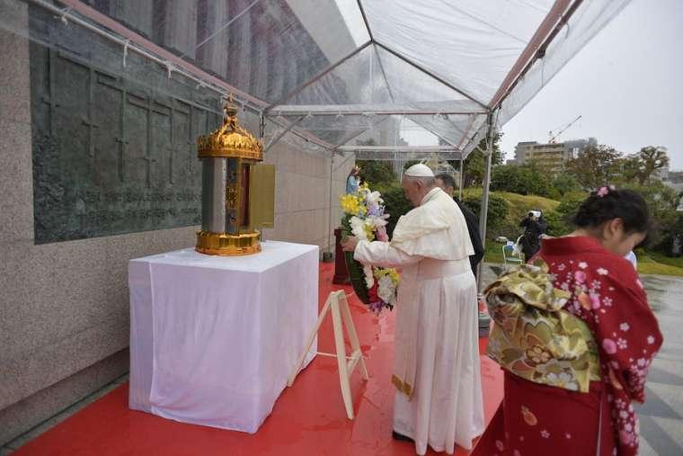 Pope Francis at the Nagasaki Martyrs' Monument on Nishizaka Hill Nov. 24.