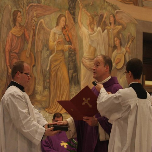 Father Peter Harman stating his oath of fidelity at the Pontifical North American College.