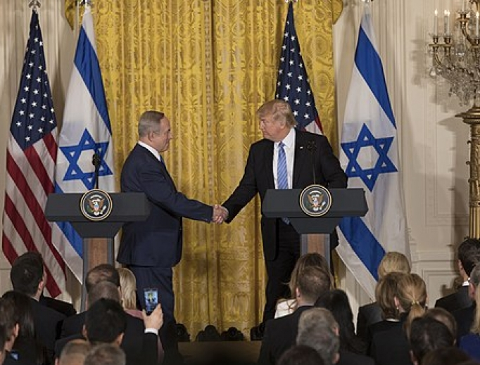 President Donald Trump and Israeli Prime Minister Benjamin Netanyahu shake hands during their joint press conference, Wednesday, Feb. 15, 2017, in the East Room of the White House in Washington, D.C.