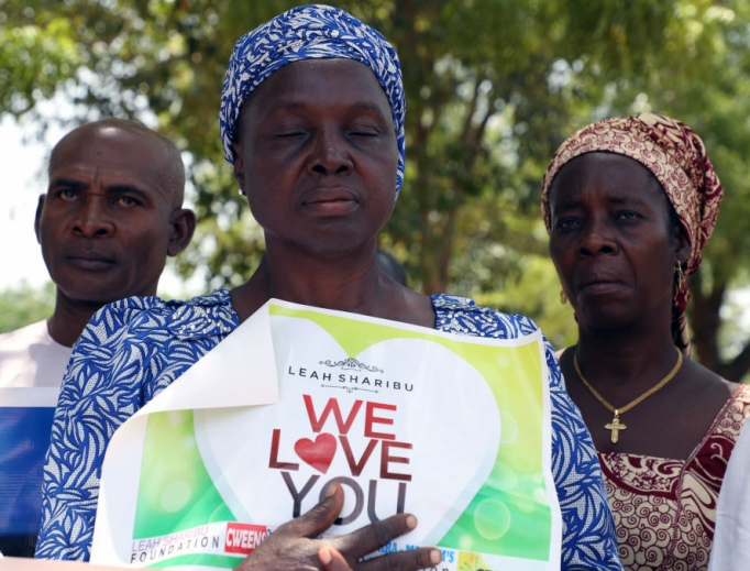 Relatives hold a banner to press for the release of Leah Sharibu, who was abducted by Boko Haram Islamists, during a rally to mark her 16th birthday and two years in captivity at the Unity Fountain in Abuja, on May 14, 2019. Sharibu was among more than 100 schoolgirls abducted from the Government Girls Secondary School in Dapchi, northeast Nigeria on Feb. 19, 2018. But while schoolmates had been freed, she has been held for refusing to denounce her religion.