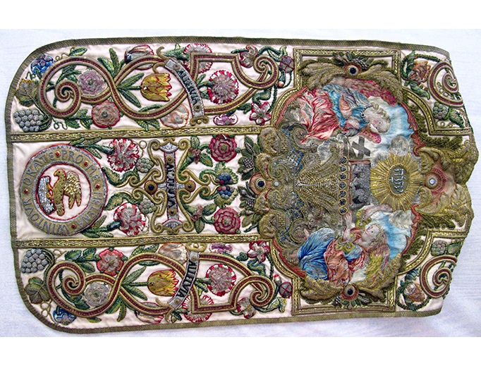 This chasuble is part of a set of Catholic vestments made by the English recusant Catholic and seamstress Helena Wintour in the 17th century.