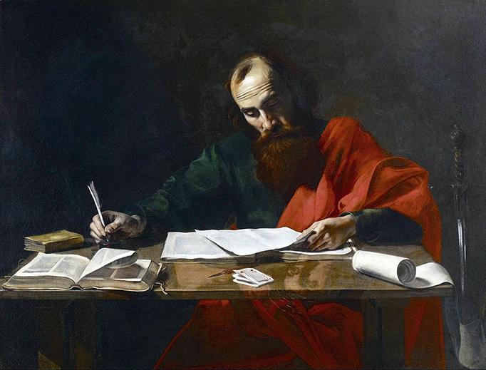 """Valentin de Boulogne (1591-1632), """"Saint Paul Writing His Epistles"""""""