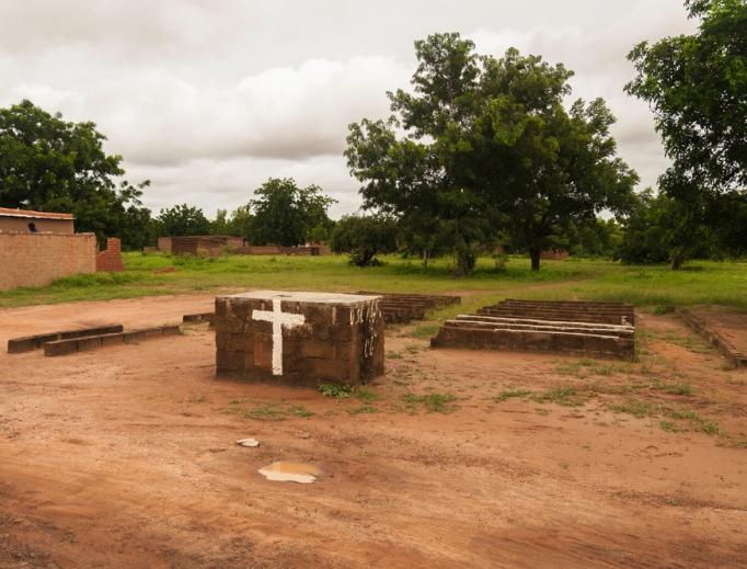 A church in the suburban area of Ouagadougou, Burkina Faso.