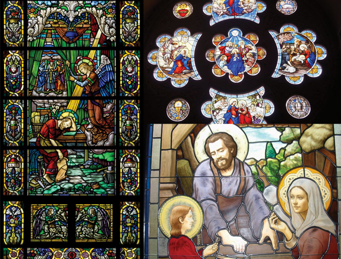 Clockwise from top: Rosary mysteries from Conrad Schmitt Studios, the Holy Family from Daprato Rigali Studios and 'St. Joseph's Dream' from Beyer Stained Glass Studio offer beauty in glass. Other offerings are below from each of the studios.