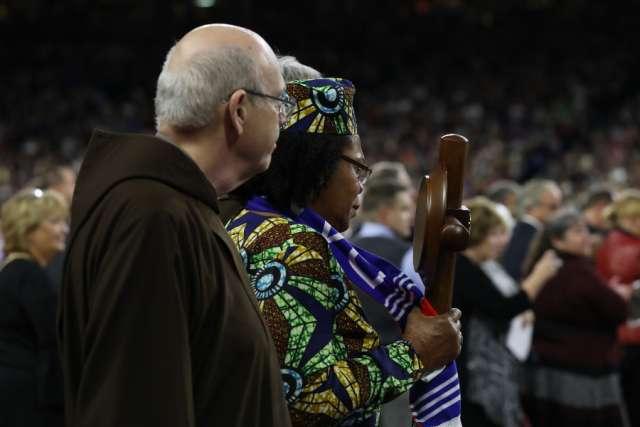 Paula Medina Marate, a Panamanian cured through Solanus Casey's intercession, at his beatification Nov. 18.